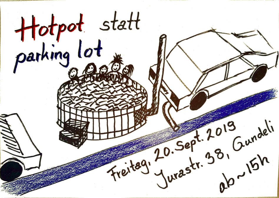 Hotpot statt parking lot in Basel am PARK(ing) Day 2019